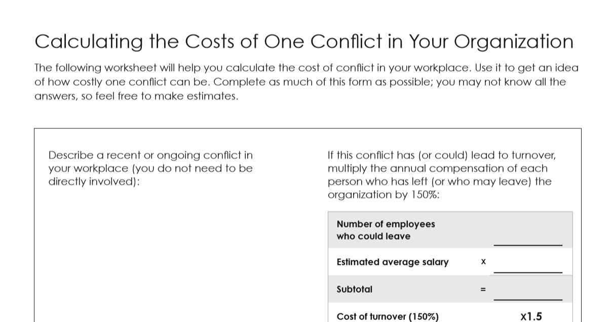 Cost of conflict calculator to download